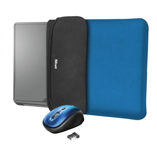 Trust yvo funda reversible azul negro para portátil 15.6'' + ratón inalámbrico azul negro