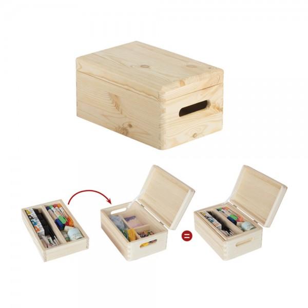 Caja de pino con organizador y tapa embalada 30x20x14cm astigarraga