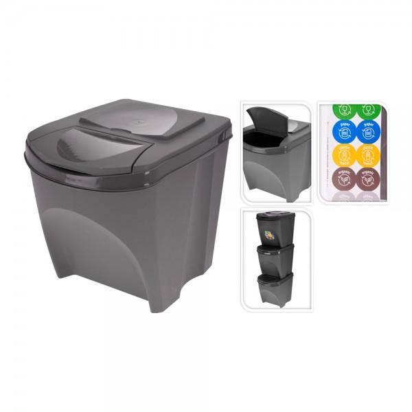 Sistema de 3 cubos x25 l reciclaje apilables