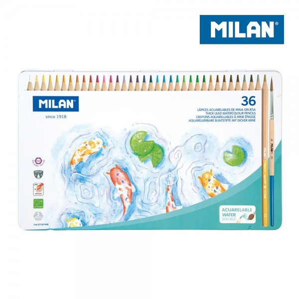 Caja metálica 36 lápices de colores acuarelables mina gruesa ø 3,5 mm hexagonales + pincel milan